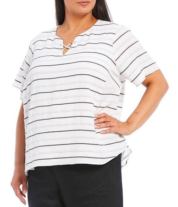 カルバンクライン レディース Tシャツ トップス Plus Size Stripe Crisscross Notch V-Neck Cuffed Sleeve Top White/Black