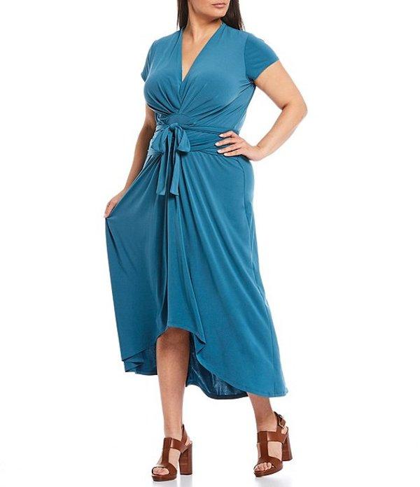 マイケルコース レディース ワンピース トップス MICHAEL Michael Kors Plus Size Lux Matte Jersey Cap Sleeve Maxi Wrap Dress Dark Cyan