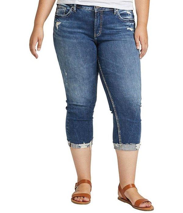 シルバー ジーンズ レディース デニムパンツ ボトムス Plus Size Elyse Frayed Hem Cuffed Capri Jeans Indigo
