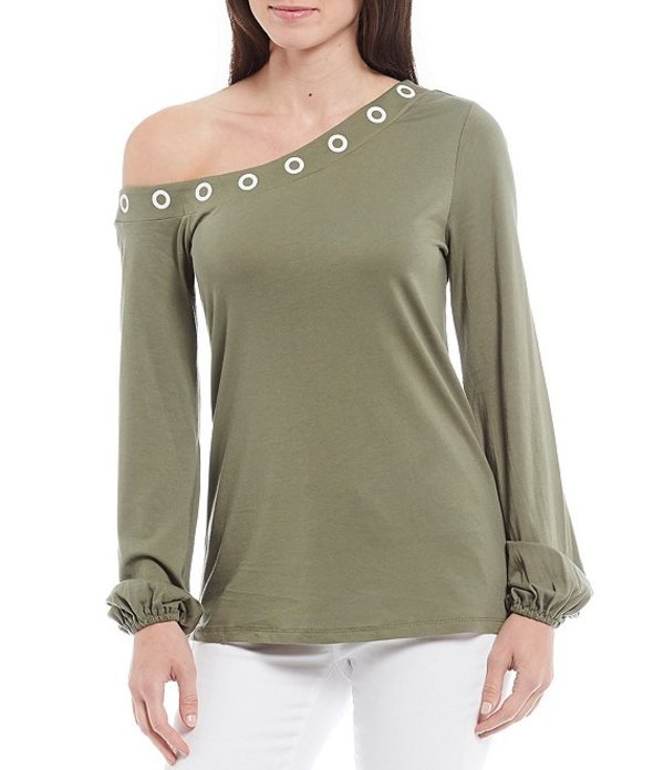 マイケルコース レディース Tシャツ トップス MICHAEL Michael Kors Knit Jersey Grommet Embellished Asymmetrical Neck Long Sleeve Top Army Green