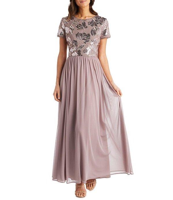 アールアンドエムリチャーズ レディース ワンピース トップス Petite Size Floral Sequin Embroidered Bodice Short Sleeve A-Line Gown Mauve