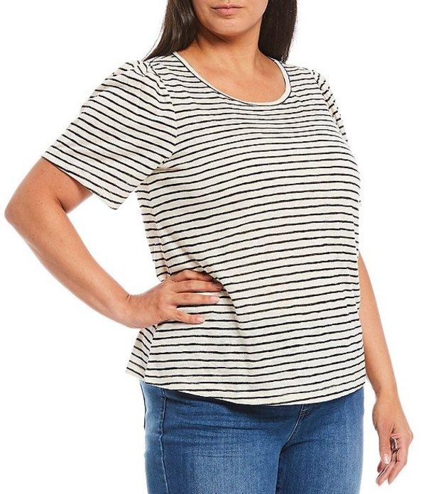 ボベー レディース Tシャツ トップス Plus Size Tilda Puff Sleeve Tee Black Stripe