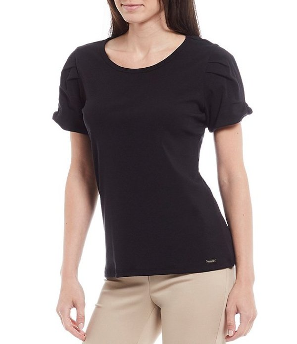 カルバンクライン レディース Tシャツ トップス Knot Detail Short Sleeve Knit Jersey Top Black
