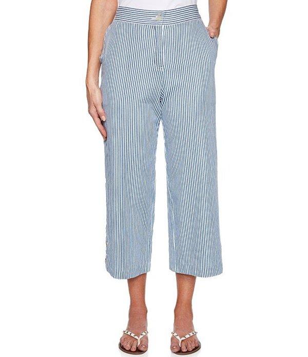 ルビーアールディー レディース カジュアルパンツ ボトムス Cruise Striped Yarn Dyed Wide Leg Cotton Crop Pants Denim Multi