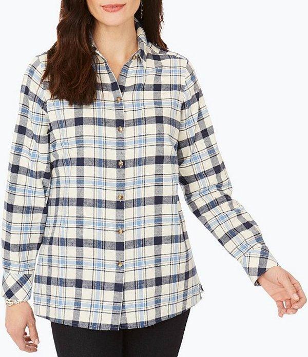 フォックスクラフト レディース シャツ トップス Journey Long Sleeve Plaid Button Front Shirt Denim Blue