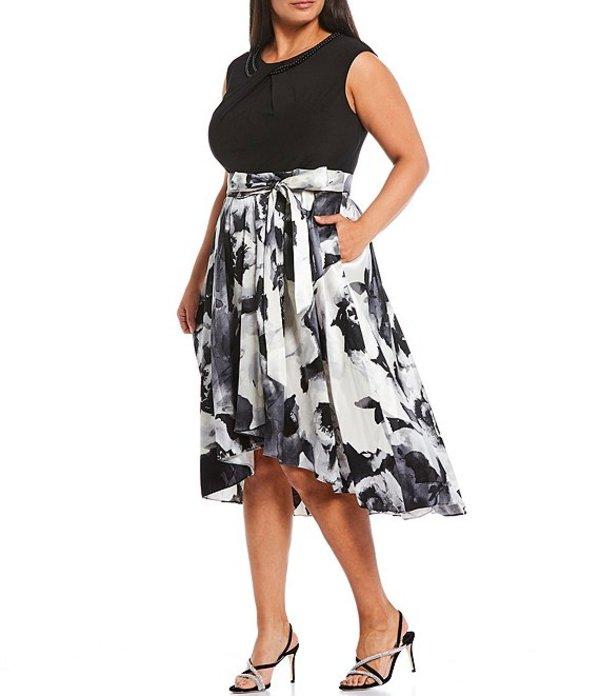 イグナイト レディース ワンピース トップス Plus Size Pearl Neck Sleeveless Bow Detail Hi-Low Party Dress Black/Ivory