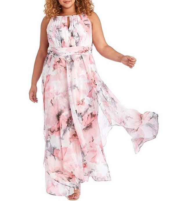 アールアンドエムリチャーズ レディース ワンピース トップス Plus Size Keyhole Neck Floral Chiffon Maxi Dress Pink