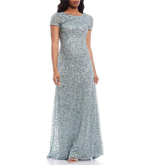 アドリアナ パペル レディース ワンピース トップス Short-Sleeve Sequined Long Skirt Gown Frosted Sage