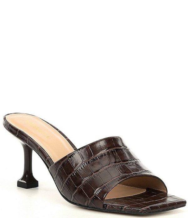 カーベラ・カート・ジェイガー レディース サンダル シューズ Grow Croc Print Leather Square Toe Mules Dark Brown