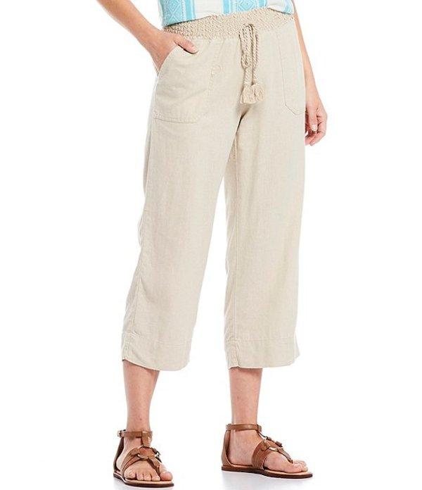 ウエストバウンド レディース カジュアルパンツ ボトムス Petite Size Linen Capri Pants Natural