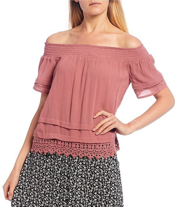 JOLT レディース シャツ トップス Off-The-Shoulder Short Sleeve Ruffle Top Rose Cayon