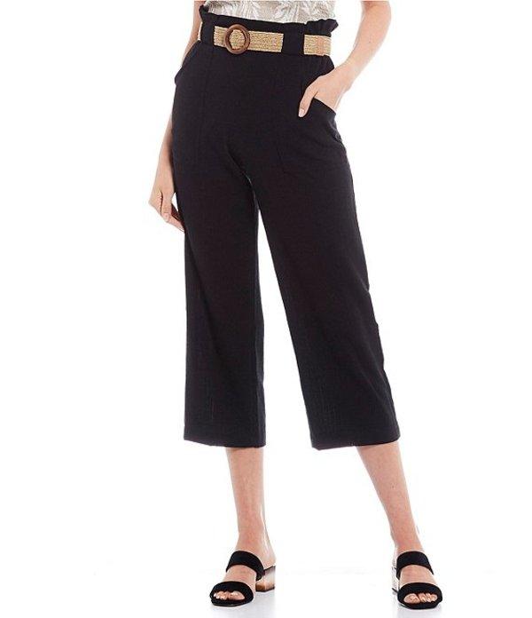 I.N.サンフランシスコ レディース カジュアルパンツ ボトムス Belted Paperbag Waist Cropped Pants Black