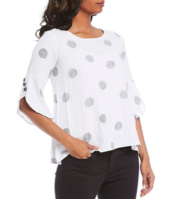 アリ マイルス レディース カットソー トップス Petite Size Printed Sketch Dot Hi-Low 3/4 Sleeve Crinkle Tunic Black Dot