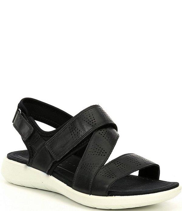 エコー レディース サンダル シューズ Soft 5 3-Strap Leather Sandals Black/Black