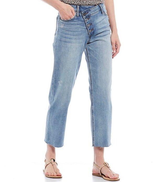 カットフロムザクロス レディース デニムパンツ ボトムス Drew High Rise Straight Leg Button Front Overlap Waist Ankle Jeans Binding