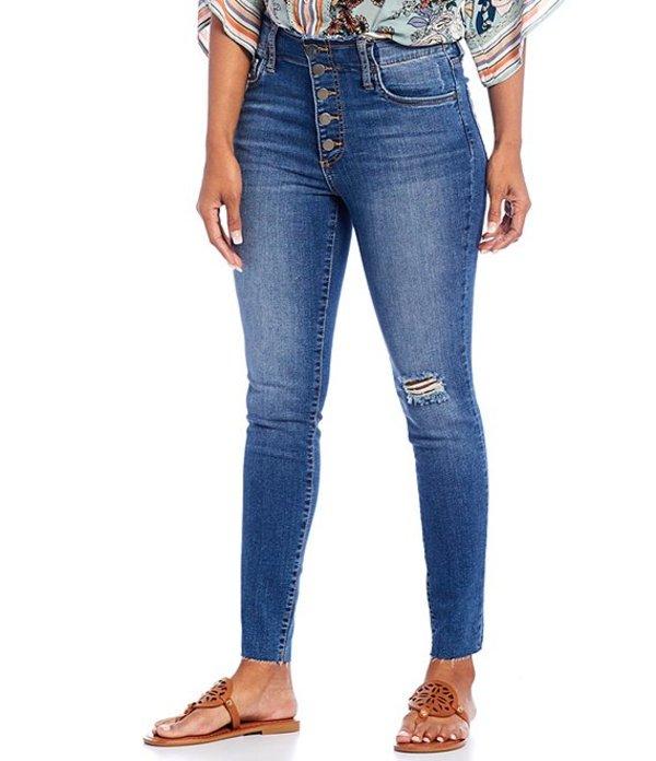 カットフロムザクロス レディース デニムパンツ ボトムス Connie High Rise Exposed Button Front Raw Hem Destruction Detail Ankle Skinny Jeans Headed