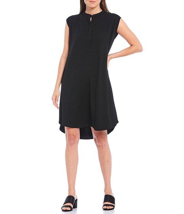 エイリーンフィッシャー レディース ワンピース トップス Petite Size Fine Tencel Jersey Mandarin Collar Knee Length Hi-Low Dress Black