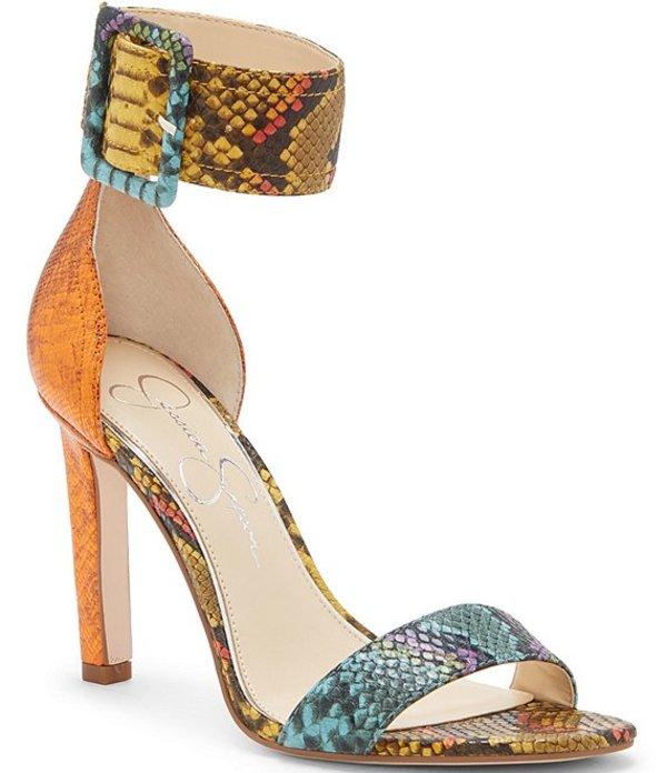 ジェシカシンプソン レディース サンダル シューズ Caytie Multi Snake Print Buckle Sandals Blue/Multi