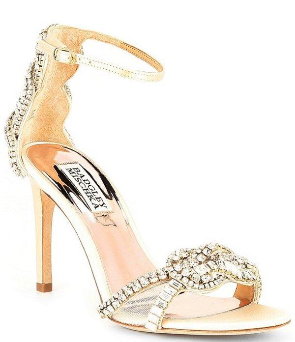 バッジェリーミシュカ レディース サンダル シューズ Zadie Satin Jeweled Dress Sandals Ivory Satin