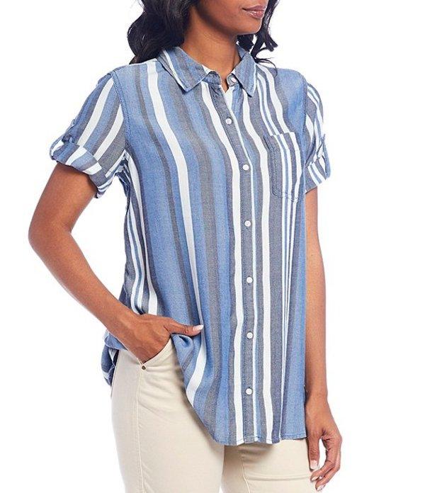 イントロ レディース シャツ トップス Petite Size Yarn Dye Stripe Tencel Short Roll-Tab Sleeve Button Down Shirt Sun Wash Stripe