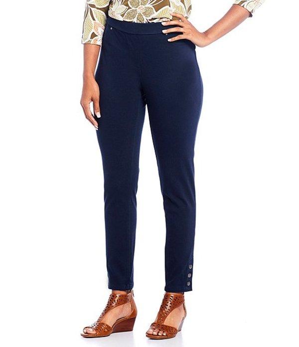 ルビーアールディー レディース カジュアルパンツ ボトムス Petite Size Knitted Twill Pull-On Snap Hem Detail Pants Navy