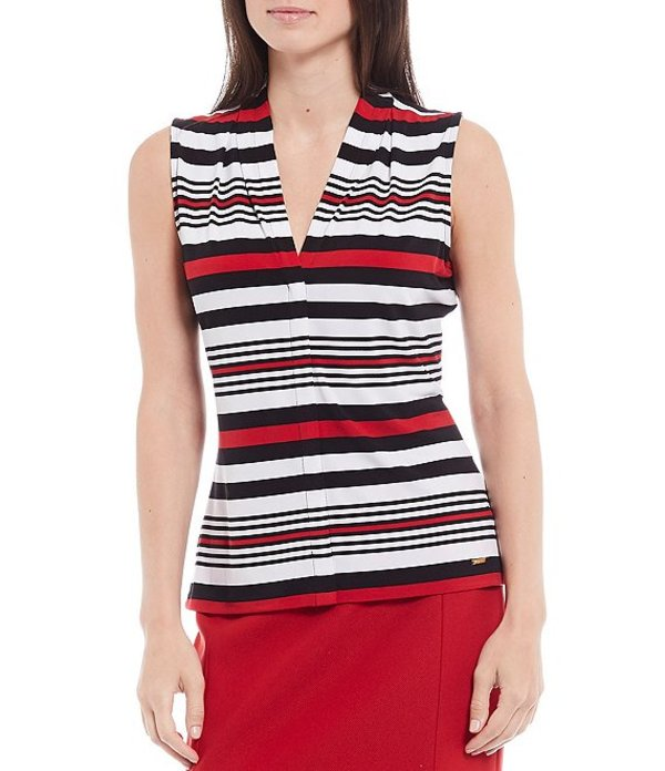 カルバンクライン レディース Tシャツ トップス Petite Size Placement Stripe Print Matte Jersey V-Neck Shoulder Pleat Sleeveless Top Red Multi