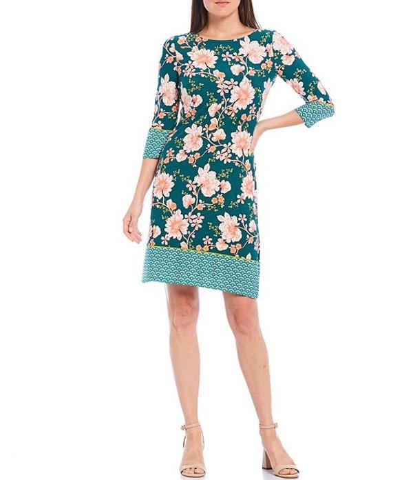 ロンドンタイムス レディース ワンピース トップス Petite Size Floral Print 3/4 Sleeve Shift Dress Teal/Peach
