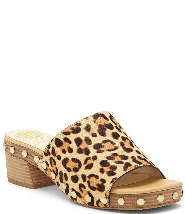 ヴィンスカムート レディース ヒール シューズ Haniya3 Square Toe Leopard Print Haircalf Mules Leopard