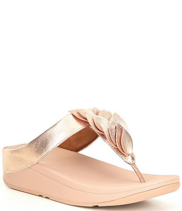 フィットフロップ レディース サンダル シューズ Fitflop Fino Leaf Toe-Thong Wedge Sandals Rose Gold