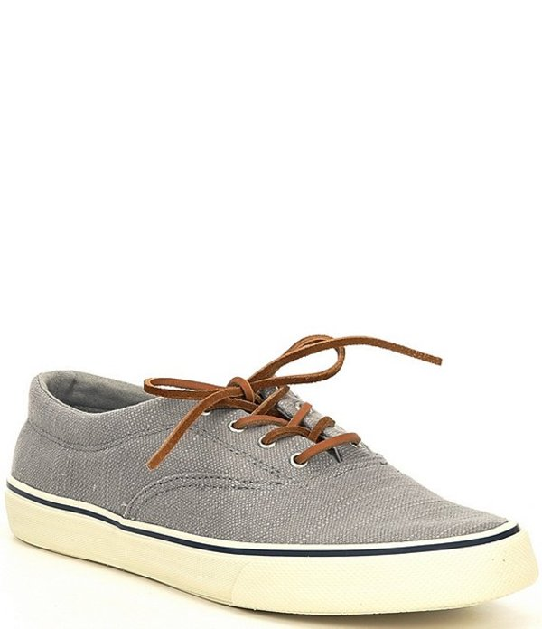 スペリー メンズ スニーカー シューズ Men's Striper II Baja Linen CVO Sneakers Light Grey