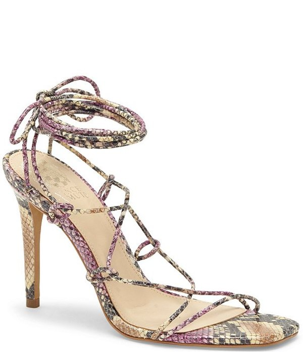 ヴィンスカムート レディース サンダル シューズ Natola Snake Print Leather Ankle Tie Lace-up Dress Sandals Fuschia