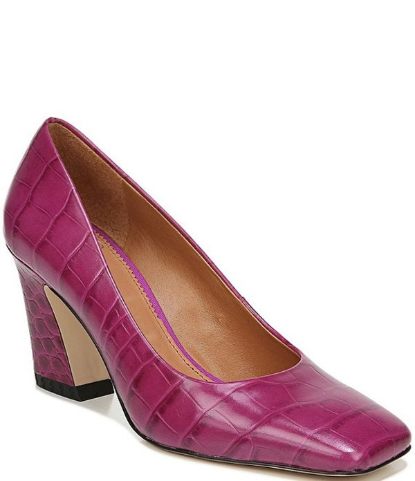 フランコサルト レディース ヒール シューズ Sarto by Franco Sarto Graciana Croc Embossed Leather Square Toe Pumps Purple