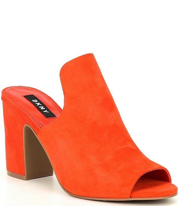 ダナ キャラン ニューヨーク レディース サンダル シューズ Dkny Hester Suede Block Heel Mules Orange