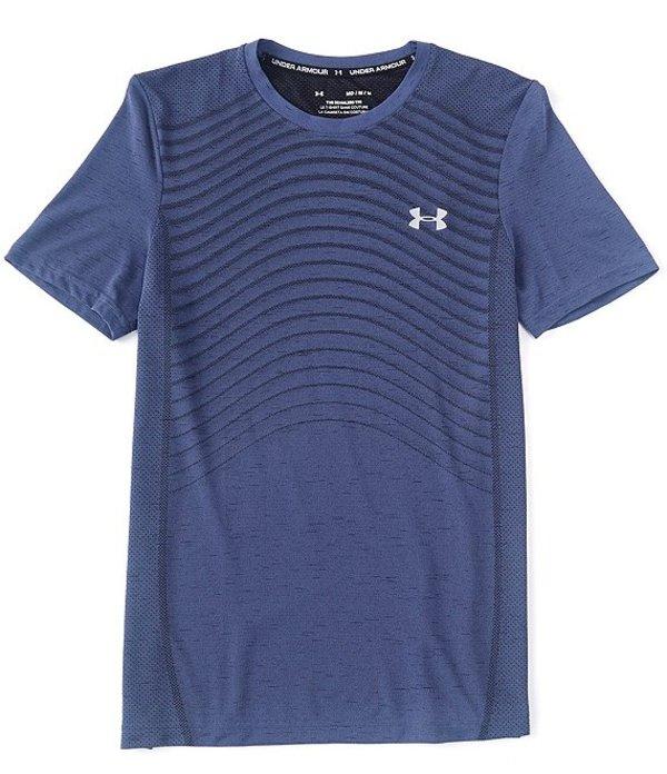 アンダーアーマー メンズ シャツ トップス HeatGearR Fitted Seamless Wave Short-Sleeve T-Shirt 497 Blue Ink