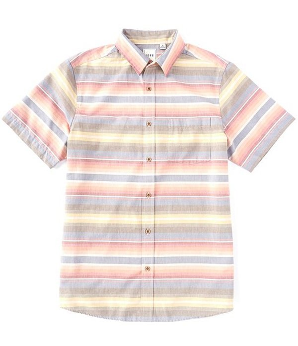 ラウン メンズ シャツ トップス Short-Sleeve Blanket Stripe Sportshirt Multi