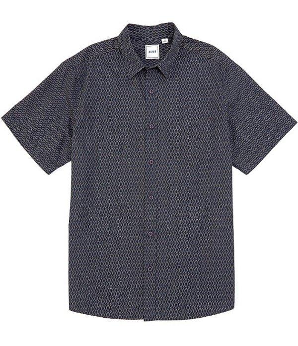 ラウン メンズ シャツ トップス Short-Sleeve Diamond Print Sportshirt Navy