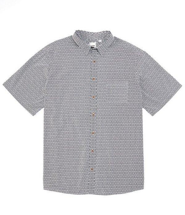 ラウン メンズ シャツ トップス Big & Tall Short-Sleeve Diamond Print Sportshirt White