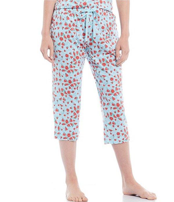 スリープ センス レディース カジュアルパンツ ボトムス Watermelon Printed Knit Cropped Sleep Pants Iced Aqua