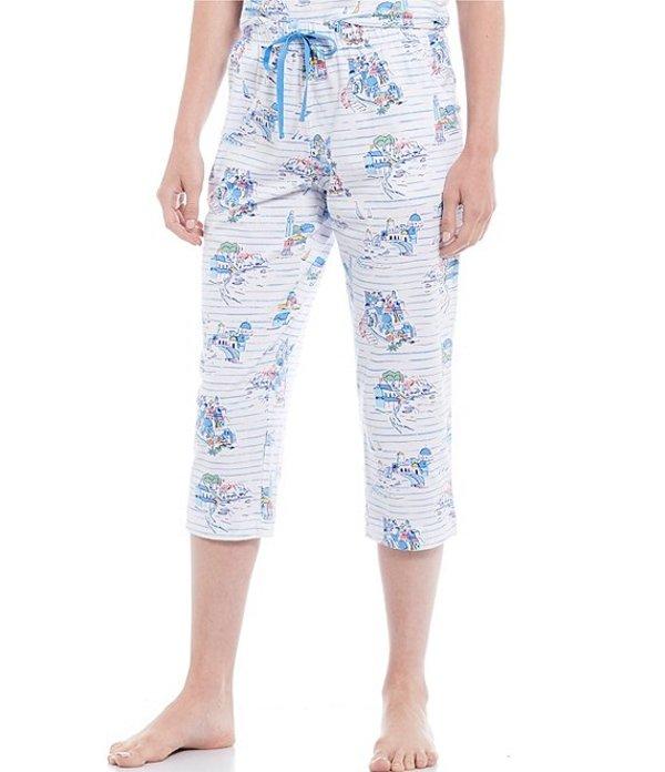 スリープ センス レディース カジュアルパンツ ボトムス Santorini Scenic Printed Knit Cropped Sleep Pants Whiteness