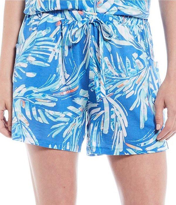 ノッティビアンチェ レディース ハーフパンツ・ショーツ ボトムス Palm Print Jersey Knit Sleep Shorts Campanula
