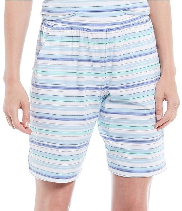 スリープ センス レディース ハーフパンツ・ショーツ ボトムス Beach Stripe Print Jersey Bermuda Sleep Shorts Whiteness