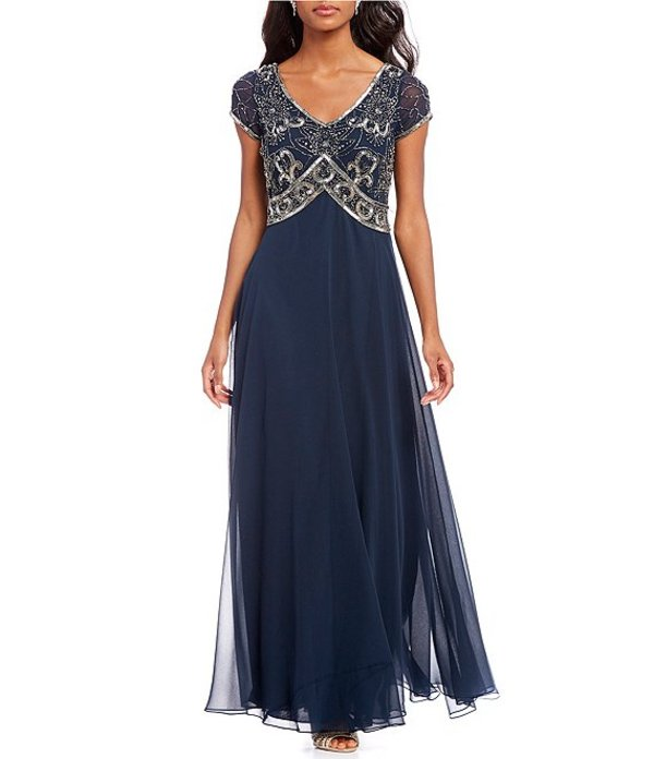 ジェーカラ レディース ワンピース トップス Floral Beaded Bodice Chiffon A-Line Gown Navy/Mercury