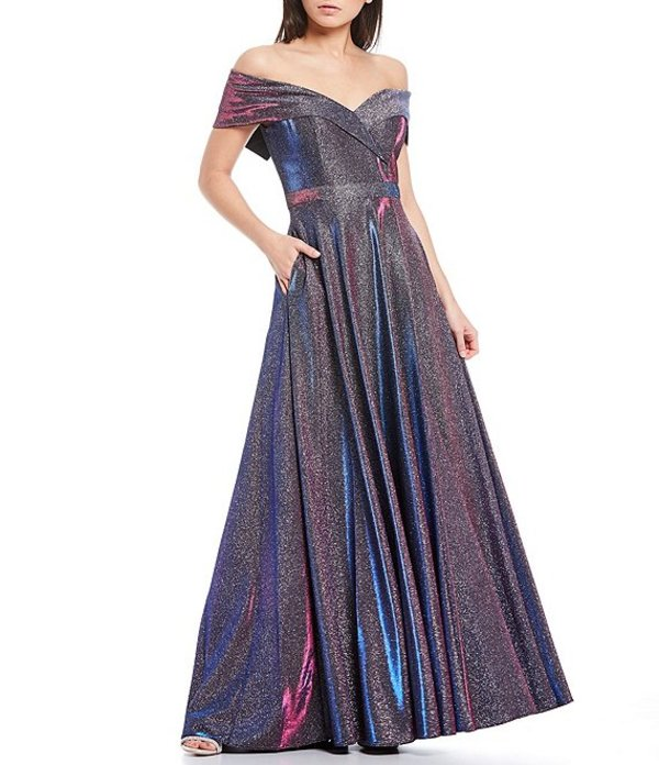 エスケープ レディース ワンピース トップス Off-The-Shoulder Sweetheart Neck Pleated Glitter Ball Gown Black/Fuchsia/Multi