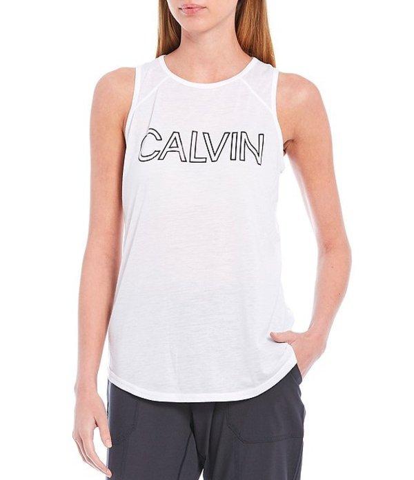 カルバンクライン レディース Tシャツ トップス Performance Calvin Logo Overlap Open Back Knit Jersey Cotton Blend Tank White