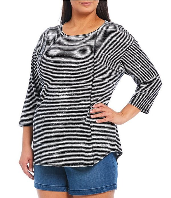 ウエストバウンド レディース Tシャツ トップス Plus Size 3/4 Sleeve Exposed Seam Eden Stripe Tee Black Eden Stripe