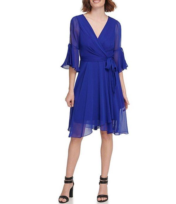 ダナ キャラン ニューヨーク レディース ワンピース トップス Chiffon 3/4 Bell Sleeve Tie Waist Faux Wrap Dress Ultramarine
