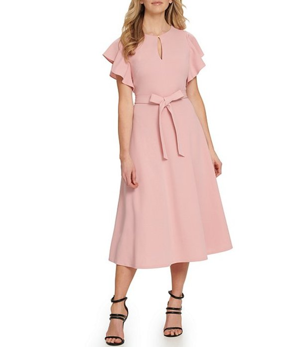 ダナ キャラン ニューヨーク レディース ワンピース トップス Key Hole Neckline Flutter Sleeve Stretch Scuba Crepe Tie Waist Midi Dress Dusty Mauve