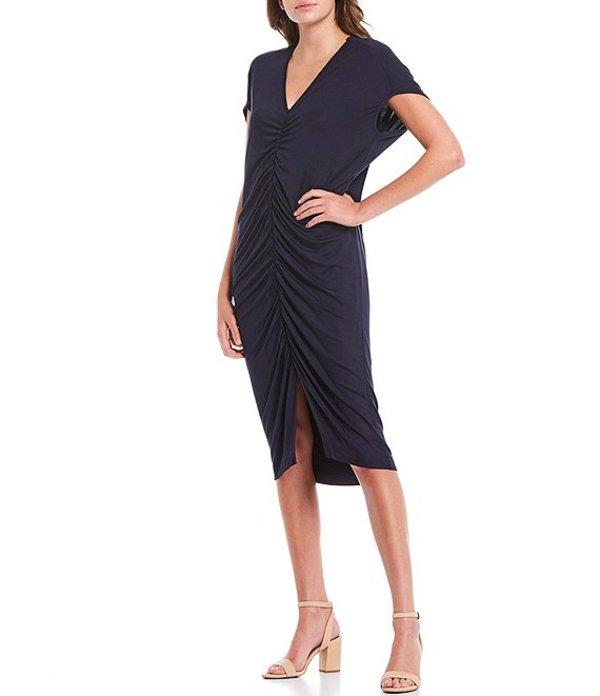 トリーナターク レディース ワンピース トップス Dawn Shirred Front V-Neck Short Sleeve Dress Indigo