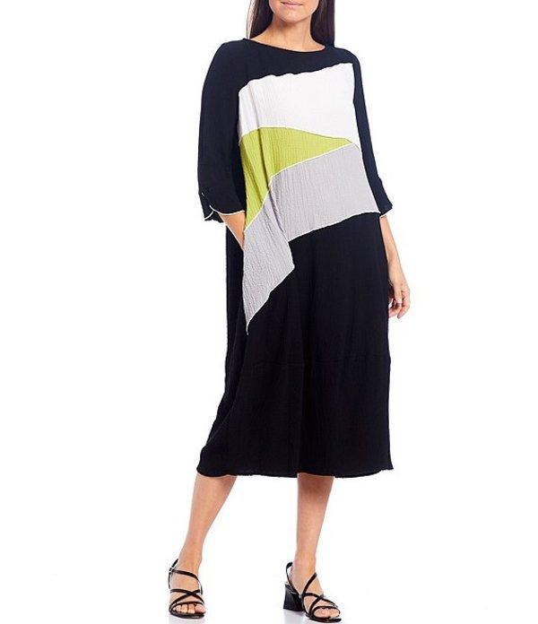 アイシーコレクション レディース ワンピース トップス Pucker Color Block 3/4 Sleeve Midi Shift Dress Black