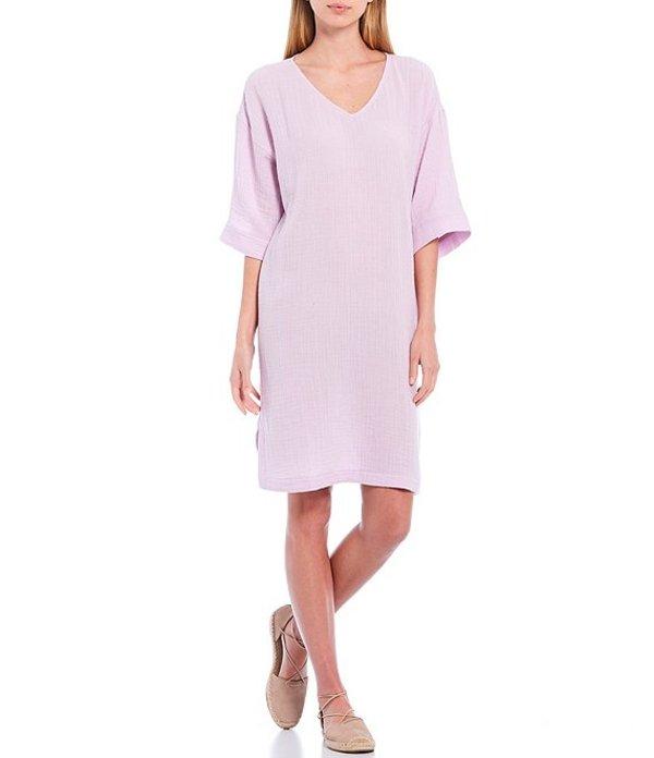 エイリーンフィッシャー レディース ワンピース トップス Organic Cotton Lofty Gauze V-Neck Elbow Sleeve Knee Length Shift Dress Mallow